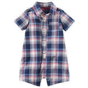 Baby Boy Plaid Button Front Romper Blue Poplin